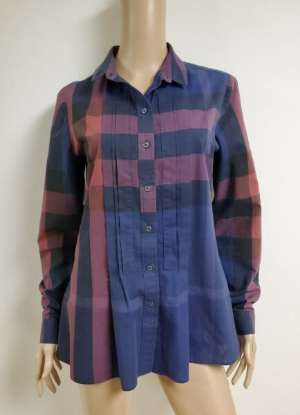 BURBERRY BRIT Burgundy Big Check 100%Cotton Button Down Long Slv Shirt Blouse M $109.00