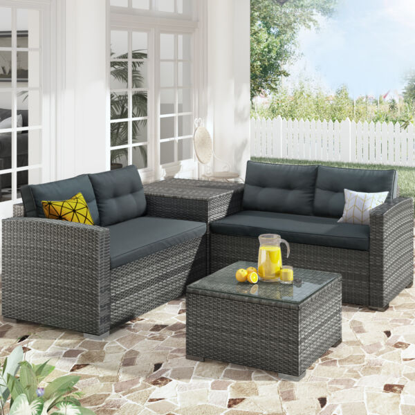 Merax 4PCS Outdoor Furniture Sofa Set with Large Storage Box $559.99