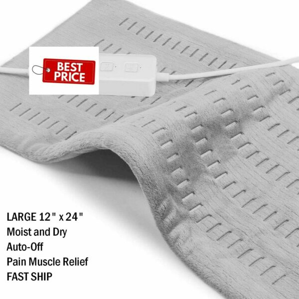 XL Electric Heating Pad Cramps Neck Back Pain Relief 12quot; x 24quot; $20.96