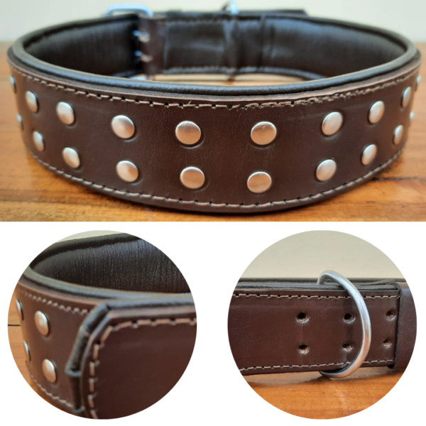Studded Dog Collar 2quot; Wide Genuine Leather For Large Breeds Heavy Duty Pit Bull $21.28