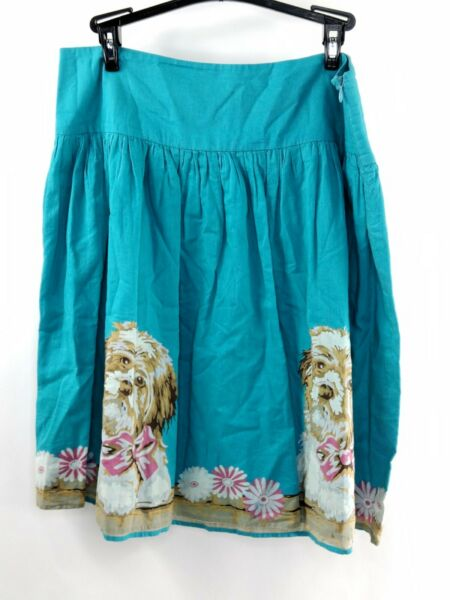 Petro Zilla Womens Size 4 Color Teal Dog Fit amp; Flare With Dog Print Casual Skirt $18.04