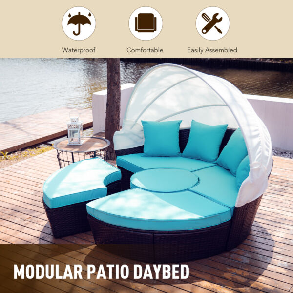 5pc Outdoor Furniture Set Wicker Daybed 4 Chairs Round Table Pillows Cover $533.89