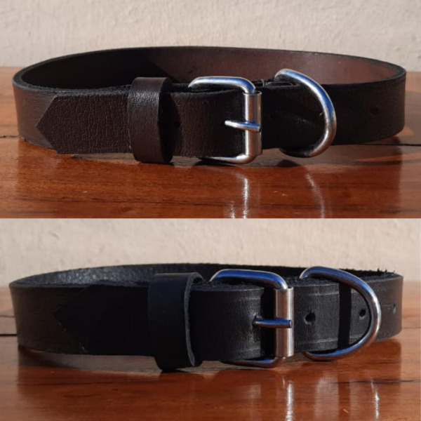 Genuine Leather Dog Collar Soft 1quot; Wide Extra Strong Pet Collar Brown Black $14.24