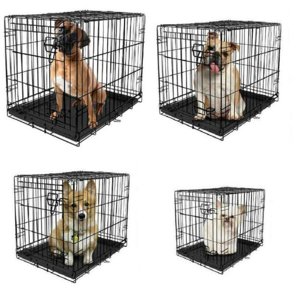 Dog Crate Folding Metal Pet Cage Kennel Single Door Tray Pan w Divider 7 SIZES $34.72