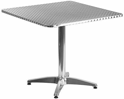 Belnick 27.5quot; Aluminum Square Outdoor Table Silver $69.99
