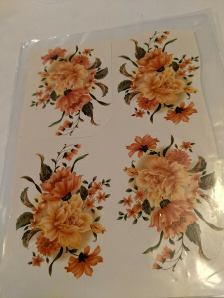 vintage Water Mount Slide Ceramic Decals Orange Carnation Flower $1.50