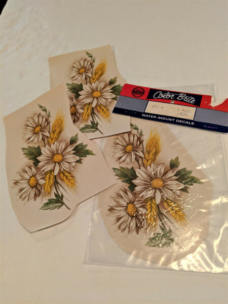 vintage Water Mount Slide Ceramic Decals Shasta Daisy Flower Golden Wheat $2.25