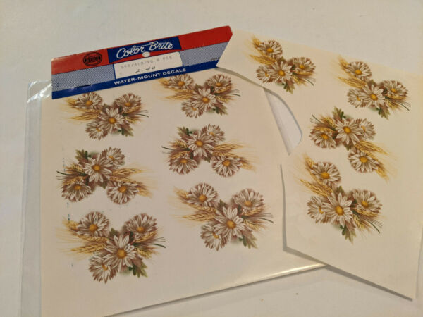 vintage Water Mount Slide Ceramic Decals Shasta Daisy Flower Golden Wheat $3.00