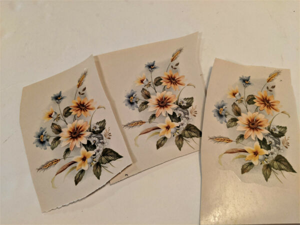 vintage Water Mount Slide Ceramic Decals Blue Yellow Flowers Golden Wheat $2.00
