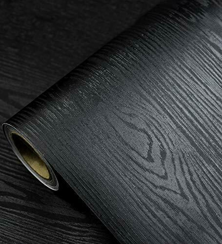 Black Wood Grain Contact Paper Peel Stick Self Adhesive Wallpaper Vinyl Wrap New