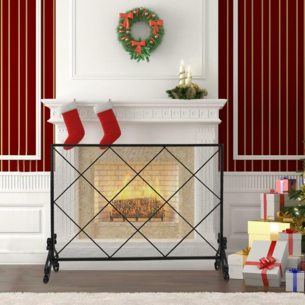 Durable Thick Line Large Grid Decorative Iron Mesh Fireplace Screen Black US