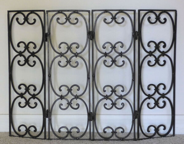 Vintage Mid Century Spanish Style Folding Black Iron Fireplace Screen 4 panel Sm