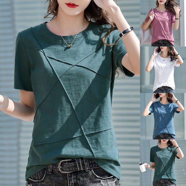Women Summer Round Neck Short Sleeve Solid Slim T Shirt Casual Blouse Loose Tops $12.70
