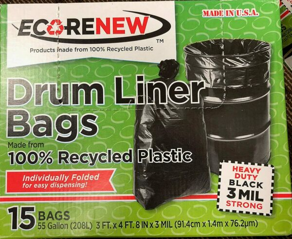 Eco Renew Drum Liner Trash Bags with Twist Ties 55 Gallon 3 Mil 100% Recycled $19.99