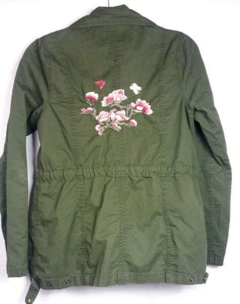 Francesca#x27;s Miami Army Style Jacket Floral Embroidered Flowers Womens Small