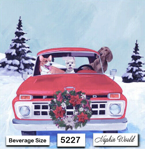 5227 TWO Individual Paper BEVERAGE COCKTAIL Decoupage Napkins CHRISTMAS DOGS $1.95