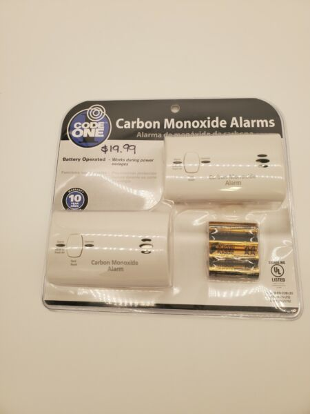 2 New in Sealed Package Code One Carbon Monoxide Alarms $17.99