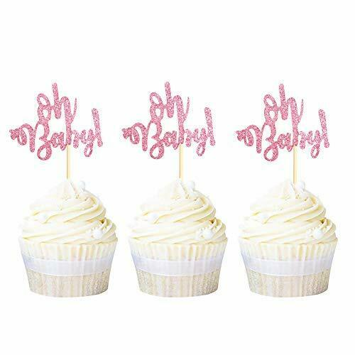 Ercaido 24 Pack Pink Glitter Oh Baby Cupcake Toppers Gender Reveal Cupcake Pi...