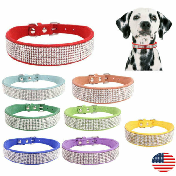 Rhinestone Dog Collar Pet Puppy Bling Studded Necklace Adjustable for S M Dogs $10.46