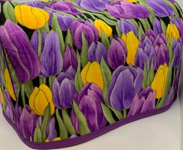Purple Spring Tulips Quilted Fabric 2 Slice or 4 Slice Toaster Cover NEW