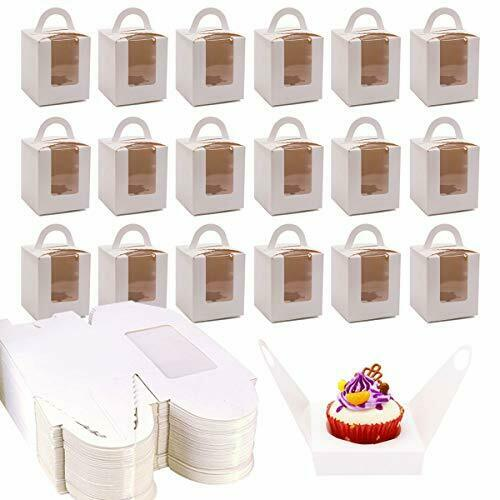 YG Oline 50 Pack Single Cupcake Boxes White Cupcake Boxes with Window Muffins...