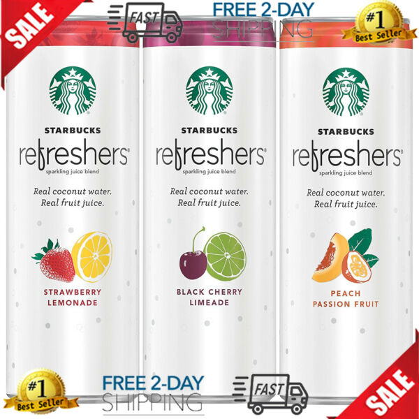 Starbucks Refreshers with Coconut Water 3 Flavor Variety 12 fl Oz....
