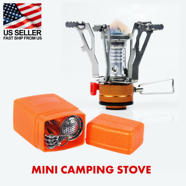 Portable Mini Stove Gas Burner for Camping Outdoor Piezo Ignition System $8.99