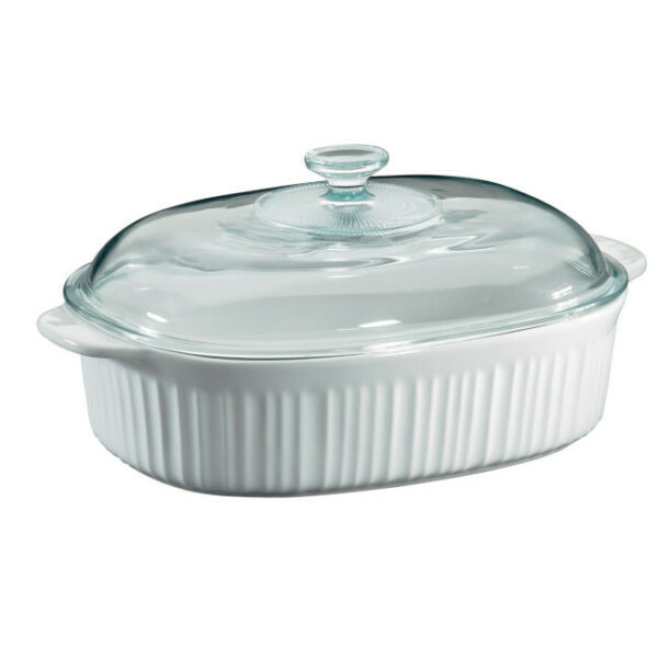 Corning Ware Casserole Dish Glass Cover Lid 4 Quart Baking Bakeware French White