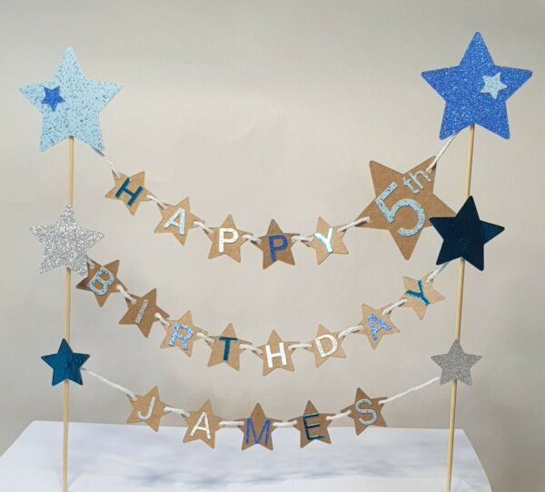 Stars bunting cake topper personalised with name amp; age