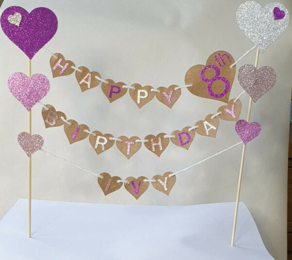Hearts bunting cake topper personalised with name amp; age