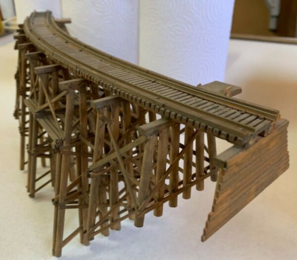 campbell wood kit curved bridge built lightly stained brown well built with $59.95