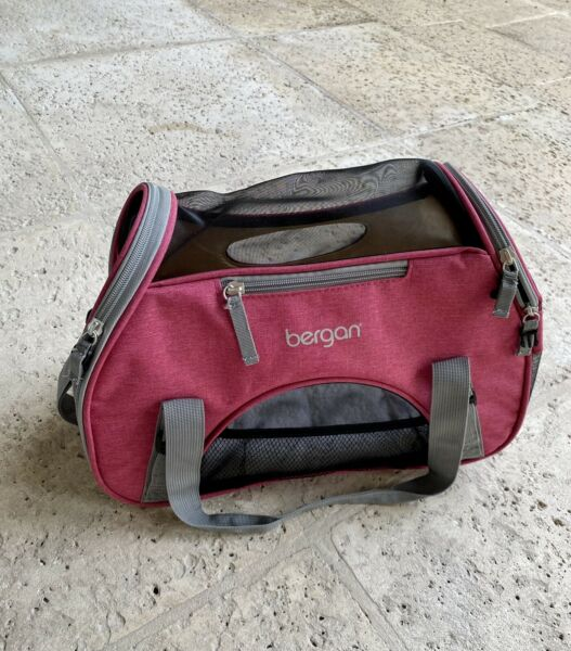 small pink kitten carrier with cushion pockets and handles $18.00
