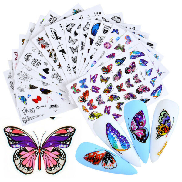 Nail Stickers Butterfly Flower Nail Art DIY Waterproof Adhesive Transfer Decal C $1.79