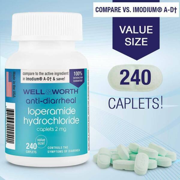 Anti Diarrheal 2mg HCL 240 Caplets by WELL amp; WORTH Made In USA