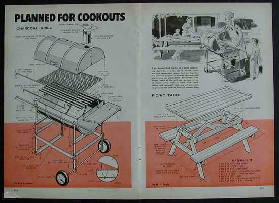 Charcoal Grill Smoker Cooker amp; Picnic Table How To build PLANS