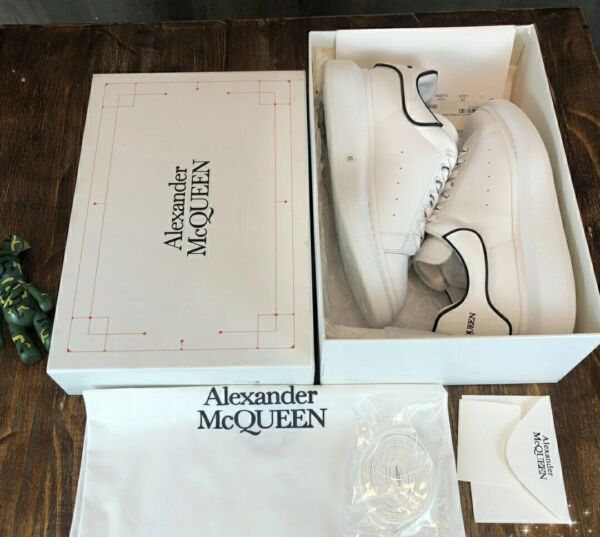 free shipping Alexander McQueen sneakers Black edged white men#x27;s shoes