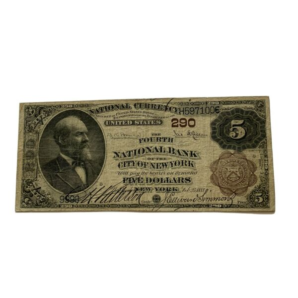 1883 New York $5 National Currency The Fourth National Bank of the City of NY $468.00