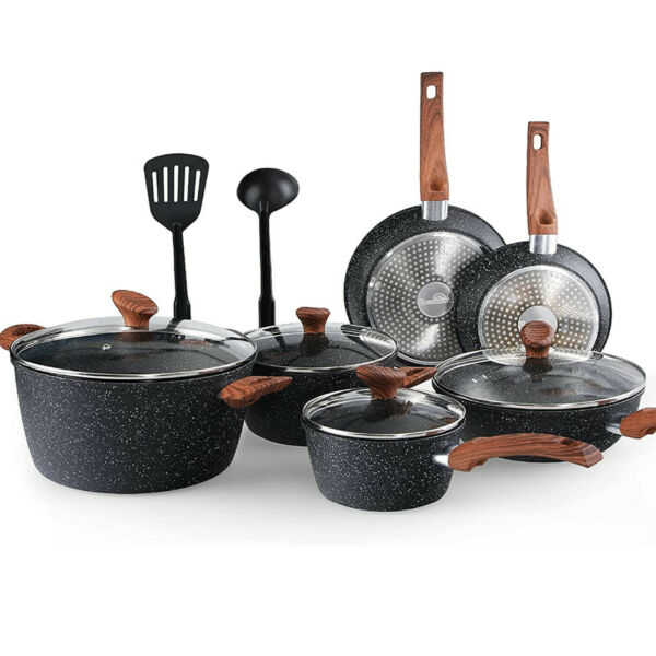 12 Piece Nonstick Granite Coated Cookware Set Kitchen Cooking Pots and Pans Set