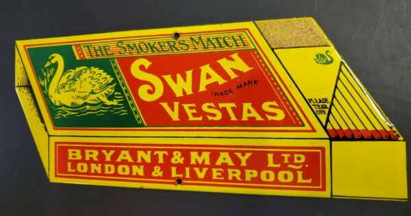 VINTAGE ADVERTISING MATCH SIGN PORCELAIN SWAN VESTAS MATCHES WITH BOX