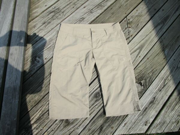 The North Face Women#x27;s 8 Long Beige Khaki Nylon Shorts with STOW Inside POCKET