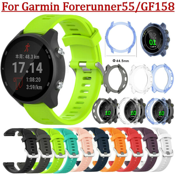 For Garmin Forerunner 55 158 Silicone Bracelet Watch Band TPU Protective Case $5.22