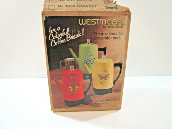 West Bend Orange Poppy Butterfly 9 Cup Automatic Electric Percolator Coffee Pot