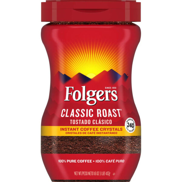 Folgers Classic Roast Instant Coffee Crystals 16 oz. =FREE SHIPPING= $10.87