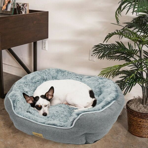 Comfy Couch Soft Fluffy Plush Dog Bed Pet Cat Calming Nesting Sofa Beds Cuddler