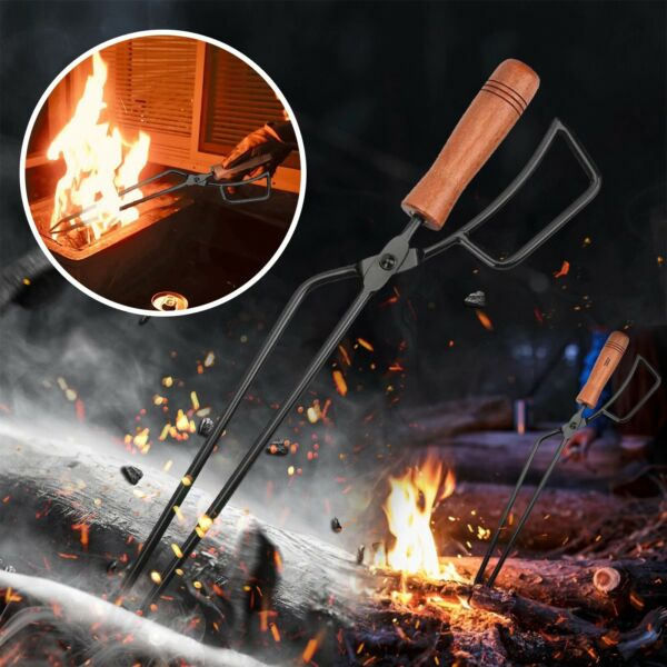 Fire Tongs Carbon Clip With Carbon amp; Extended Charcoal Clip Outdoor Camping BBQ $28.99