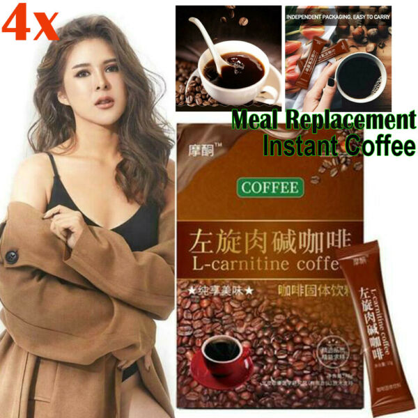 4 Boxs 28 Packs * L Carnitine Instant Coffee For Weight Loss Slimming Coffee