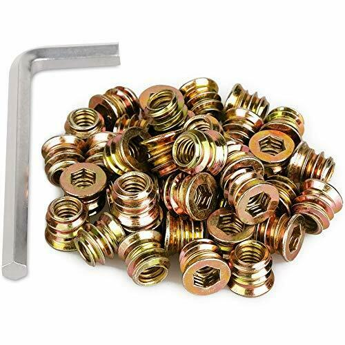 40Pc 1 4quot; 20x15mm Furniture Screw in Nut Threaded Wood Inserts with Hex Spanner $25.11