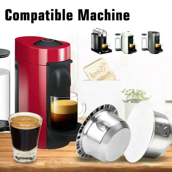 Refillable Nespresso Stainless for Vertuo Capsule Steel Cup Pods ENV135 ENV150
