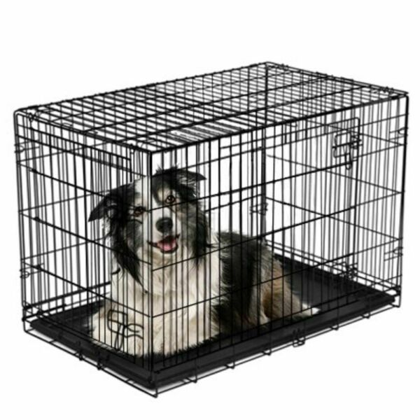 Vibrant Life Double Door Folding Dog Crate with Divider X Large 42quot; $52.99