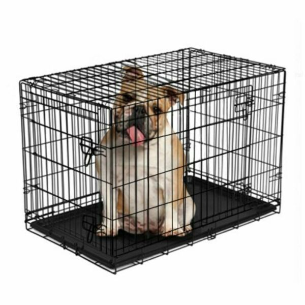 Dog Crate Kennel Folding W Divider Wire Metal Double Door Pet Bed Portable 36quot; $41.50